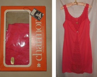 DEADSTOCK 1960s Slip Chamor Cherry Red Nylon Lace German Pinup Rockabilly Unterkleid NWT in Box M