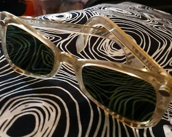 Vintage 1940s 50s Sunglasses Light Colored Clear Frames Green Tinted Glass Lenses German Rockabilly