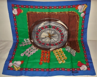 Vintage Silk Scarf Moschino Couture Large Designer Silk Scarf Gambling Poker Print Roulette Wheel Boho 34 x 34 in. a few small marks