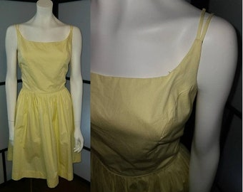 Vintage 1950s Sundress Yellow Cotton Double Strap Full Skirt Sundress Rockabilly Pinup M waist 28 in.