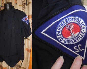 Unworn Vintage Police Shirt 1970s Dark Navy Blue Greenville South Carolina Police Dept. Patch Short Sleeves XXL chest to 53 in.