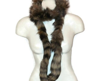 SALE Vintage Fur Scarf Long Thin Fur Animal Tail Scarf Wrap Stole Trim Raccoon Several Available 53 to 67 inches long