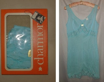 DEADSTOCK 1960s Slip Chamor Light Blue Nylon Lace NWT Unworn Rockabilly German Pinup in Box Rockabilly Mod M