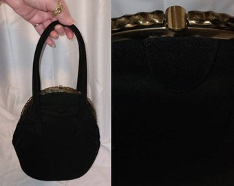Vintage 1930s 40s Purse Black Wool Oblong Oval Shape Top Handle Bag Unique Metal Frame Art Deco Rockabilly