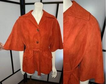Vintage Suede Jacket 1960s 70s Dark Orange Soft Suede Angel Wing Jacket Bell Half Sleeves Hippie Boho M