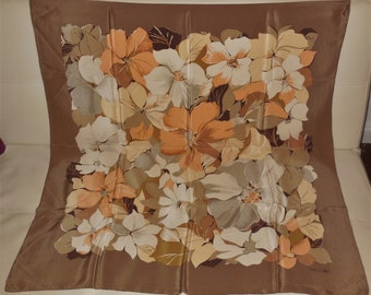 Vintage Silk Scarf 1970s 80s Large Fisba Stoffels Designer Silk Scarf Beige Brown Floral Pattern 34.5 x 34.5 inches