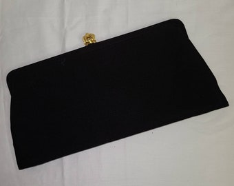 Vintage 1950s Purse Black Fabric Clutch Purse Gold Metal Crown Clasp Expandable Bottom Classic Look Rockabilly 12 x 6 in.