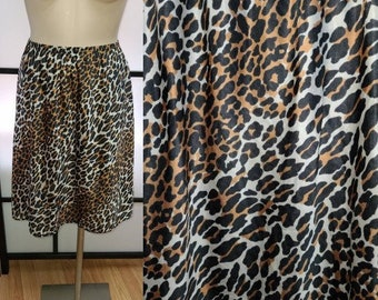 Vintage 1960s Half Slip Thin Leopard Print Nylon Vanity Fair Lingerie Rockabilly Pinup S