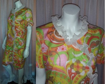 Vintage 1960s Dress Thin Cotton Summer Dress Bright Psychedelic Floral Print White Ruffle USA Hippie Boho L XL chest to 42 in.