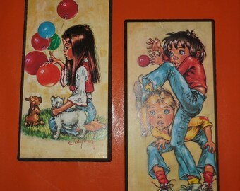 Pair of Vintage 1960s 70s Big Eye Kids Wall Plaques Small Pictures Wall Hangings German Pop Mod Go Go Balloons Dogs Couple  10 x 5 inches