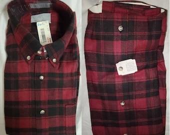DEADSTOCK Vintage Men's Shirt 1990s Andhurst Red Black Plaid Cotton Flannel Shirt Unworn NWT Grunge Rockabilly L