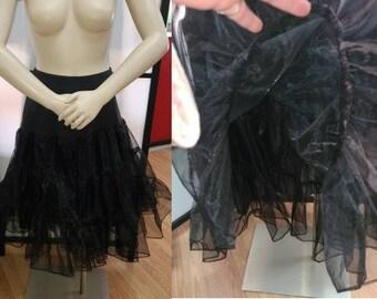 Vintage Black Crinoline Multi Layer Black Nylon Polyester Petticoat for Full Skirt Circle Skirt Rockabilly M L waist 27 to 32 in.