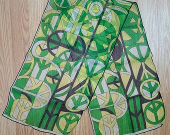 Vintage Peace Sign Scarf 1960s 70s Designer Jacques Griffe JG Long Thin Scarf Green Yellow Hippie Boho 11 x 42