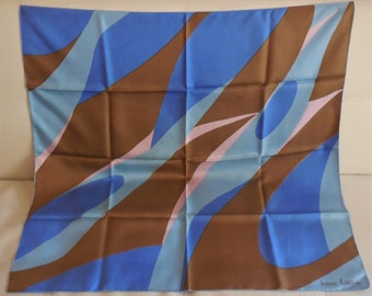 Vintage Silk Scarf Lanvin Paris Designer Silk Scarf Brown Blue Pink Psychedelic Pattern Hand Rolled Edges Mod 30 x 30 in. small spot