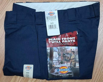 DEADSTOCK Vintage Men's Dickies Pants 1990s Dark Blue Plain Front Cotton Poly Blend Twill Work Pants NWT 36 x 30 Rockabilly