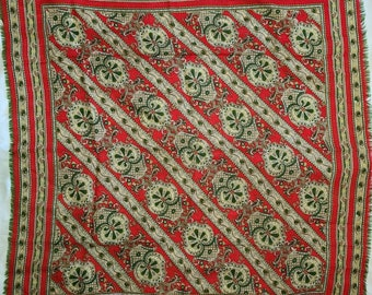 Vintage Wool Scarf Thin Red Green Medallion Print Fringed Wool Scarf Boho 29 x 30.5 in.