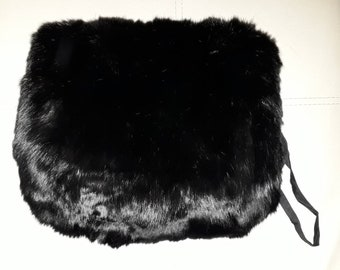 Vintage Fur Muff 1930s 40s Sleek Shiny Black Fur Handwarmer with Purse Compartment German Art Deco