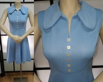 Vintage 1960s 70s Dress Light Blue Minidress Decorative Button Detail Mod Go Go S chest 36 in.