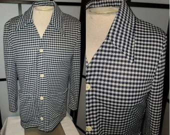 Vintage Men's Jacket 1970s Catalina Action Jacket Leisure Jacket Navy Blue White Houndstooth Polyester LS Shirt JacMod Boho M chest 41 in.