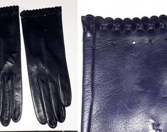 Vintage Leather Gloves 1950s 60s Thin Dark Purple Leather Gloves Woven Eyelet Ribbon Ruffle Unworn Elegant Rockabilly Fine Leather 7 1/2
