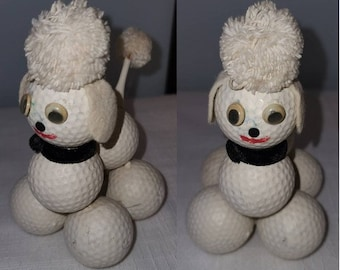 Vintage Poodle Figurine 1950s 60s Golf Ball Poodle Statue Absolutely Adorable Rockabilly Golfer 6 inches tall
