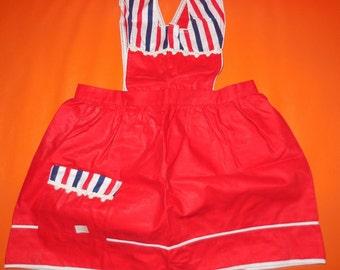 SALE DEADSTOCK Vintage 1950s Child's Apron  Dress Red w White Blue Stripes NWT Unworn Rockabilly Kid's Children's Little Girl Pinafore