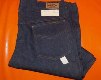 DEADSTOCK Vintage Jeans Mens Sears Roebucks Dark Denim Jeans Unworn Original Tag NWT Rockabilly sz 40 31