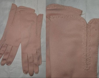 SALE Vintage Pink Gloves 1950s Light Pink Nylon Fabric Gloves Above Wrist Small Ruffle Trim Rockabilly 7