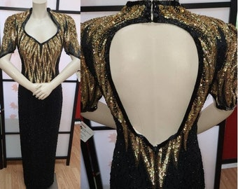 Vintage Sequin Bead Dress Long 1980s Gold Black Bead Sequin Gown Trophy Dress Flame Design Open Back Bugle Beads Pageant Gown Boho M