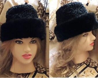 SALE Vintage Faux Fur Hat 1960s 70s Black Faux Persian Lamb Mink Fur Stocking Cap Muetze German Boho 23 in. 58.5 cm