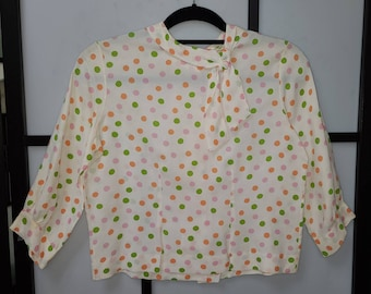Vintage 1950s 60s Blouse Multicolor Polka Dot Rayon Back Button Blouse Neck Bow Rockabilly Pinup Mod S light age stains