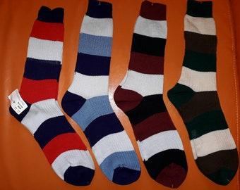 DEADSTOCK Vintage Socks 4 Pair 1970s 80s Long Multicolor Striped Socks Boho one size