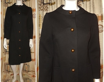 SALE Vintage 1950s 60s Coat Black Wool Blend Coat Dress Large Gold Ball Buttons Elegant Rockabilly Breakfast at Tiffany's Audrey M