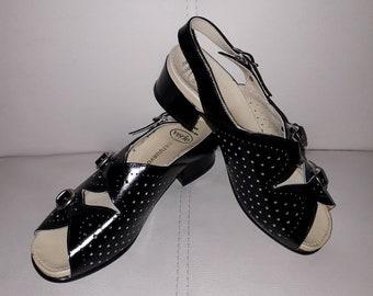 Unworn Vintage Shoes 1940s Style Shiny Black Patent Leather Buckle Sandals Verie Dutch Comfort Shoes Rockabilly Swing M