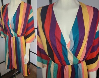 Vintage Striped Dress 1980s Thin Silky Bright Colored Striped Dress Boho XL