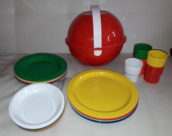 Vintage 1970s Picnic Ball Bright Colored Plastic Ingrid Picnic Set Round Red Ball Carrier Cups Plates Bowls Service for 6 USA Mod