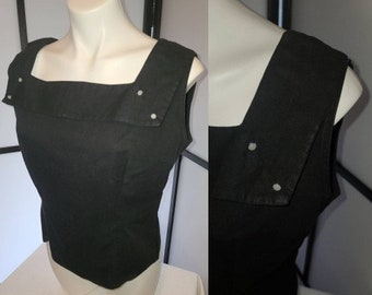 Vintage 1950s Blouse Black Cotton Back Button Square Neck Top Button Detail Rockabilly Pinup L