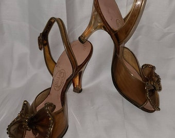 Vintage 1950s Shoes Clear Brown Vinyl Peeptoe Pumps Jewel Bows Clear Lucite Heels Rockabilly Pinup XS great display piece