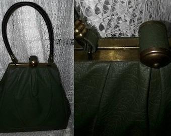 Vintage 1930s 50s Purse Dark Green Vinyl Triangle Shape Top Handle Purse Unique Clasp German Art Deco Rockabilly Handtasche