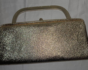 Vintage Evening Purse 1960s Metallic Gold Textured Vinyl Clutch Purse Optional Metal Top Handle Rockabilly Mod 12 x 6 in.