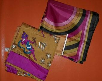 Lot of 2 Vintage Silk Scarf 1960s Burmel Psychedelic Zodiac Print Scarf Geo Op Art Scarf Pink Brown Pop Mod Boho