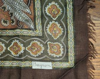 Vintage Wool Scarf 1970s 80s Extra Large Thin Fringed Brown Earthtone Print Scarf Bayron Terner XL Boho 49 x 49 in.