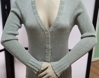 Vintage Silver Metallic Sweater 1960s Lurex Cardigan Space Age Mod Boho M chest to 38 in.