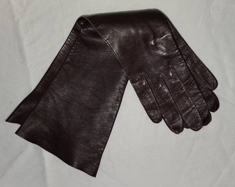Vintage Leather Gloves 1950s Mid Length Thin Dark Maroon Brown Kid Gloves by Superb American Zone Western Germany Rockabilly Pinup 6 1/2