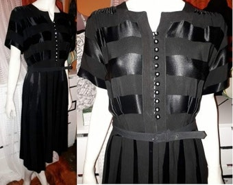 Vintage 1950s Dress Black Rayon Crepe Satin Contrasting Stripes Rhinestone Buttons USA Rockabilly Day Dress Plus Size XL chest to 42 in.