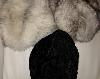 Lot of 3 Vintage Fur Hats 2 Fox 1 Persian Lamb 1960s German Rockabilly Boho some wear