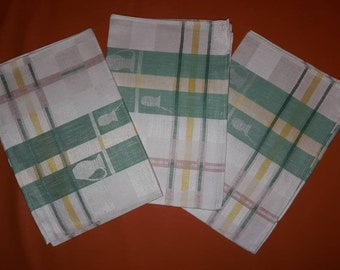 Unused Vintage Dish Towels Set of 3 1950s 60s German Half Linen Pastel Plaid Dish Towels Glass Pitcher Motif Halb Leinen Rockabilly