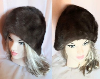 Vintage Fur Hat 1950s Brown Gray Mink Fur 30s Cloche Style Hat German Flapper Boho Art Deco