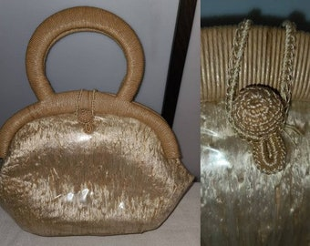 Vintage Straw Purse Unique 1950s 60s Light Shiny Straw Purse Round Double Handle Clear Vinyl Made in Japan Rockabilly Mod