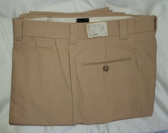 Deadstock Vintage Men's Pants 1970s Trousers Beige Khaki Fabric Unworn Mod M